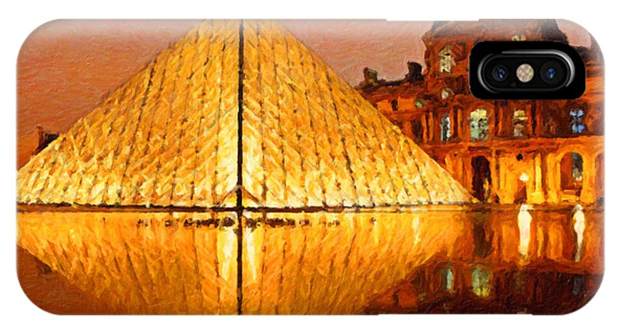 Safran Fine Art IPhone X Case featuring the painting Louvre Illuminated by Safran Fine Art