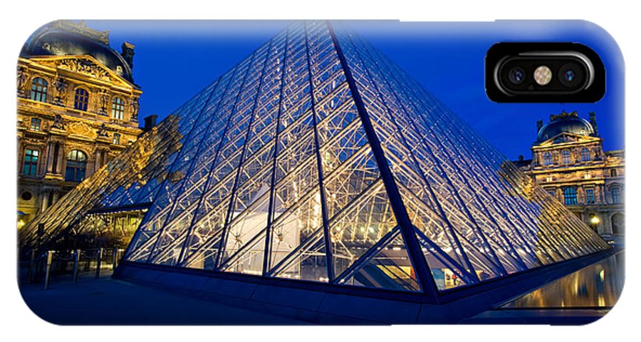 Paris IPhone X Case featuring the photograph Louvre Pyramid At Dusk by Mark Skalny