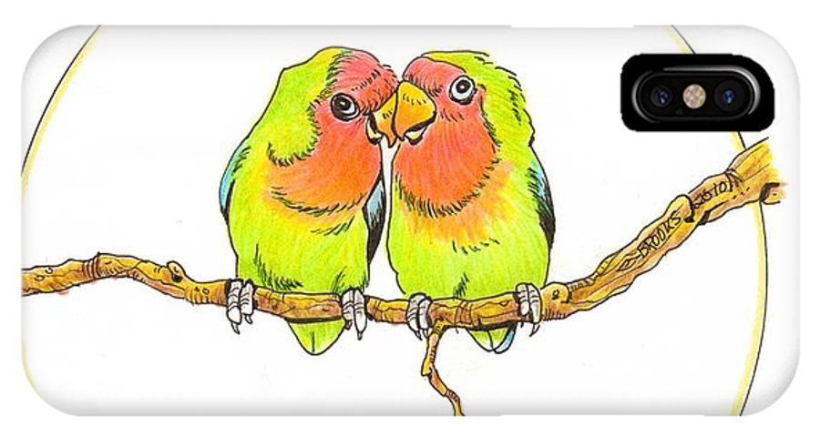 Lovebird IPhone X Case featuring the drawing Love Birds by Richard Brooks