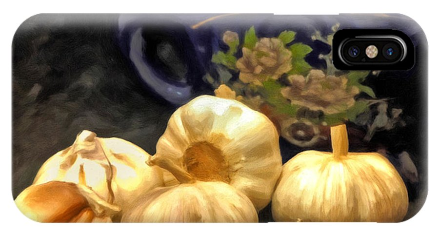 Garlic IPhone X Case featuring the painting Love For Garlic by Michael Pickett