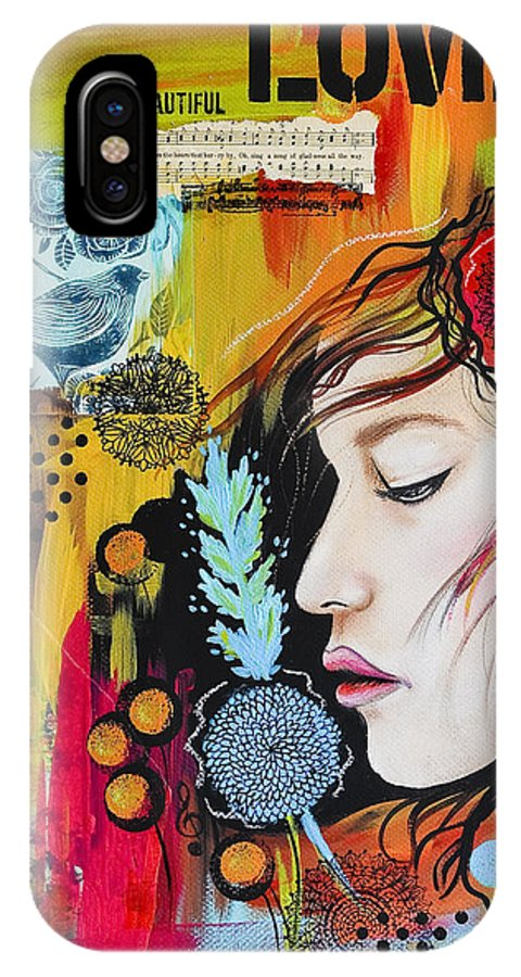 Mixed Media IPhone X Case featuring the painting Love by Lindsay Pace
