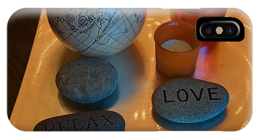 Still Life IPhone X Case featuring the photograph Love Relax Pray Stone Still Life by Valerie Garner