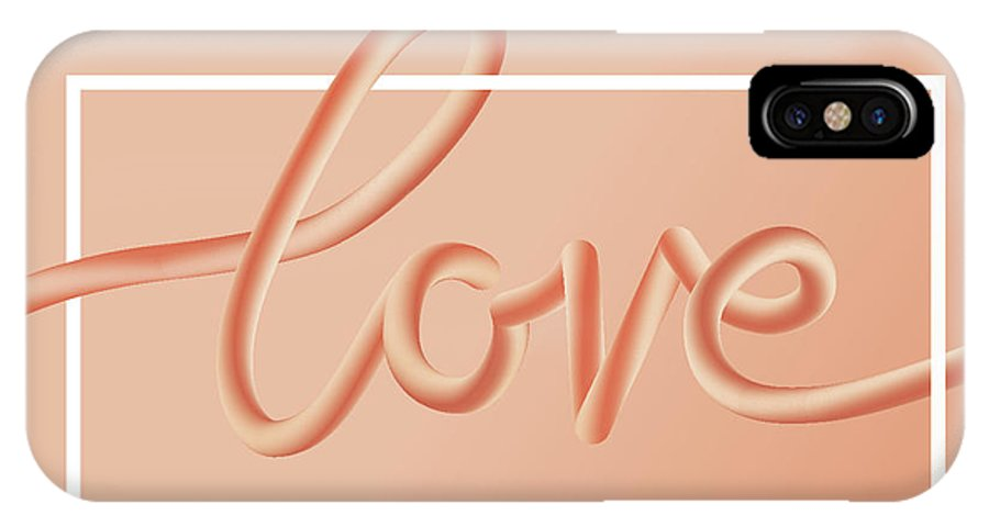 Home Decor IPhone X Case featuring the digital art Love Text Lettering In Red Color by Apagafonova