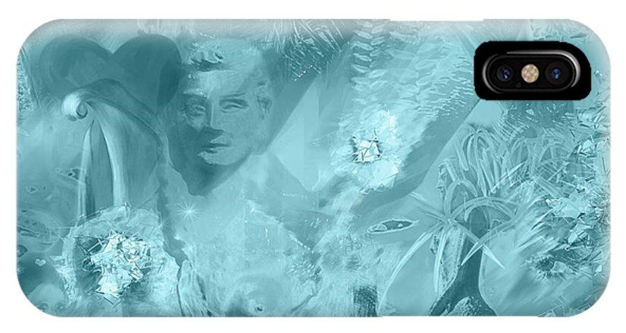 Lovely Mayhem Ice Blu IPhone X Case featuring the painting Lovely Mayhem - Ice Blu by Michelle Constantine