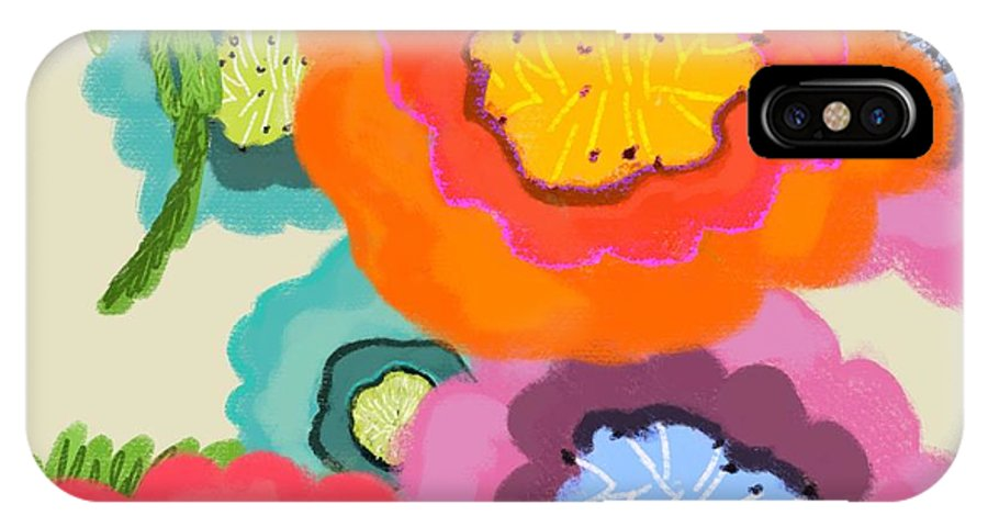 Floral IPhone X Case featuring the painting Lovely Square by Christine Fournier