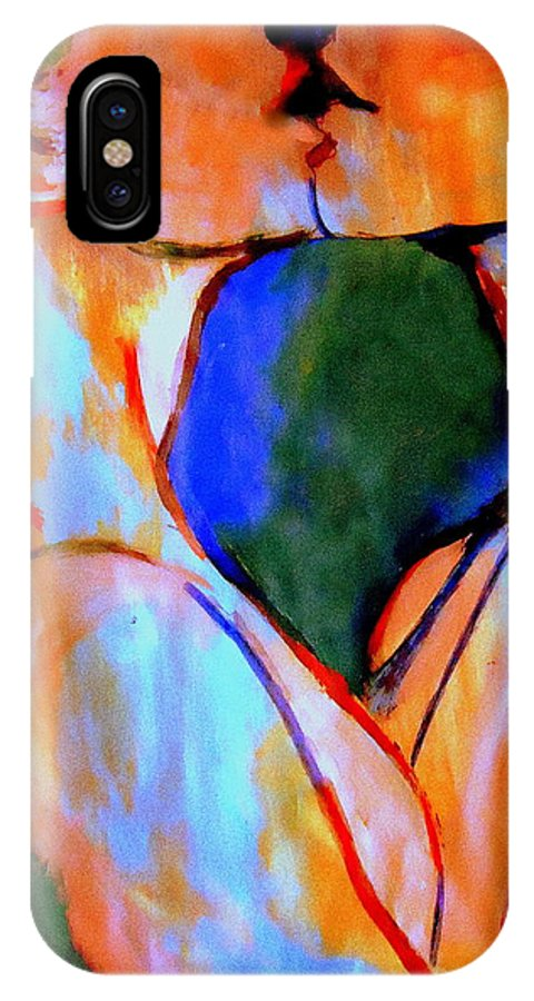 Affordable Original Paintings IPhone X Case featuring the painting Lovers by Helena Wierzbicki