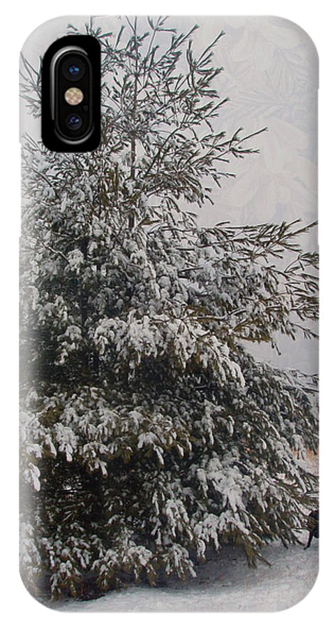 Pine IPhone X Case featuring the photograph Loves Snow by Teresa Schomig