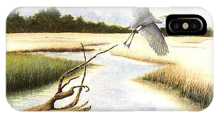 Egret IPhone X Case featuring the painting Low Country Marsh by Ben Kiger