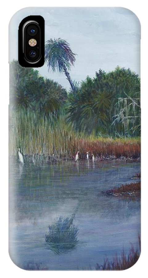 Landscape IPhone X / XS Case featuring the painting Low Country Social by Ben Kiger