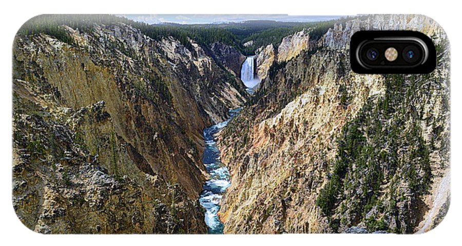 Lower Yellowstone Falls IPhone X Case featuring the photograph Lower Yellowstone Falls Panorama by Catherine Sherman