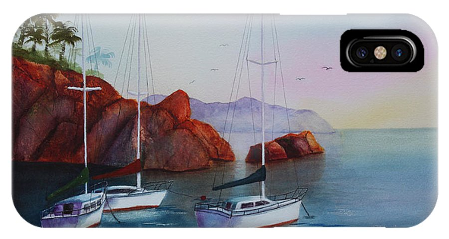 Sailboats IPhone X Case featuring the painting Lowered Sails by Patricia Novack
