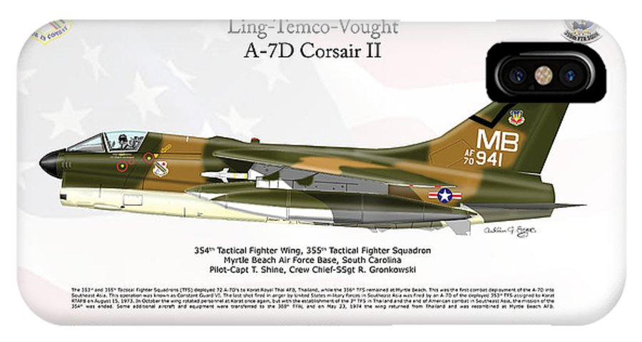Ling IPhone X Case featuring the digital art Ltv Ling Temco Vought A-7d Corsair II by Arthur Eggers