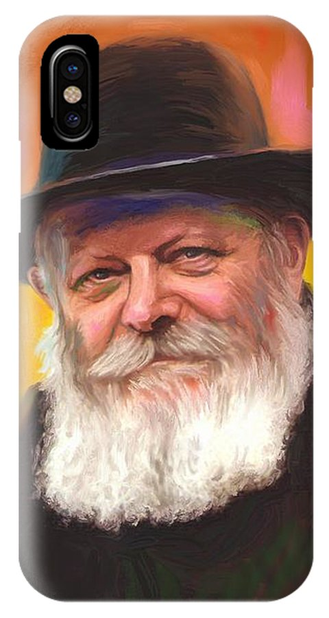 Lubavitcher Rebbe IPhone X / XS Case featuring the painting Lubavitcher Rebbe by Sam Shacked