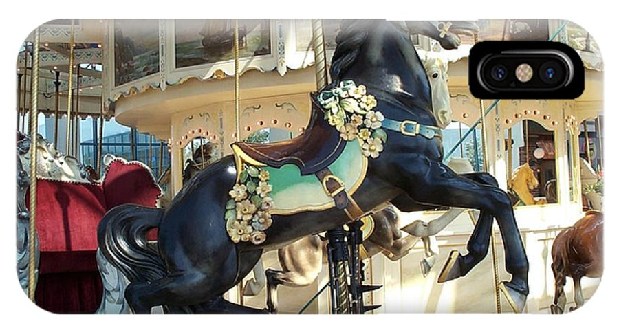 Carousel IPhone Case featuring the photograph Lucky Black Pony - Syracuse Ptc No 18 by Barbara McDevitt