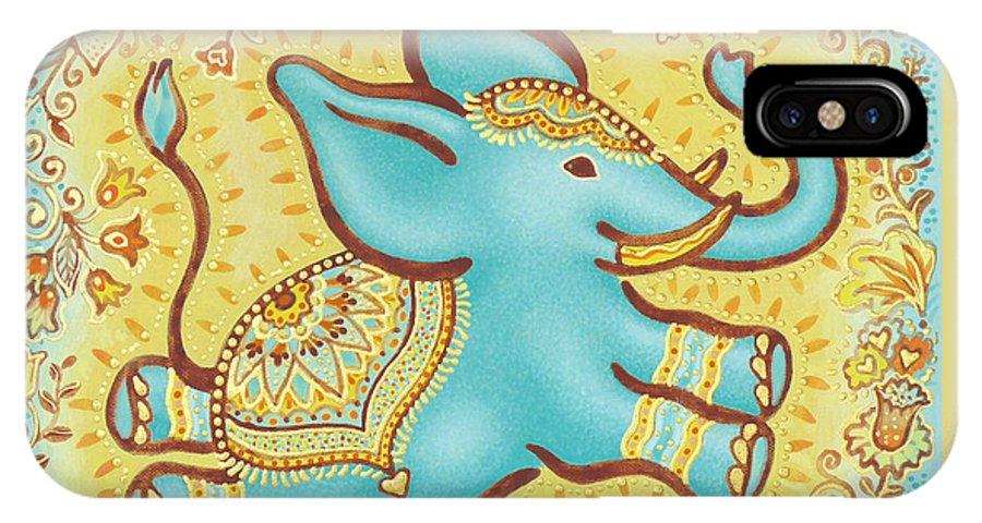 Lucky Elephant Turquoise IPhone X Case featuring the painting Lucky Elephant Turquoise by Judith Grzimek