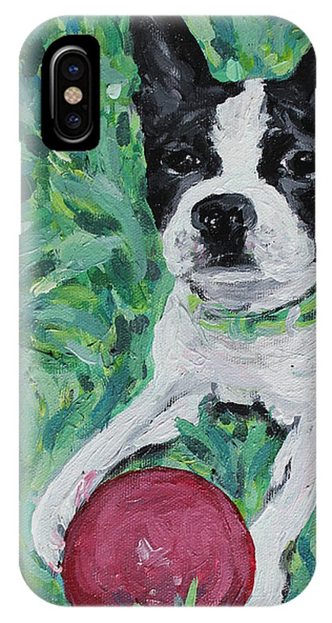 Boston Terrier IPhone X Case featuring the painting Lucy With Ball In Grass by Bridget Brummel