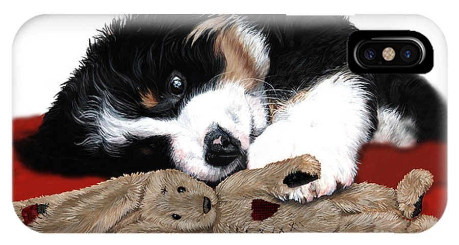 Bernese Mountain Dog IPhone X Case featuring the painting Lullaby Berner And Bunny by Liane Weyers
