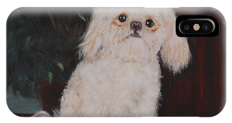 Dog IPhone Case featuring the painting Lulu by Quwatha Valentine