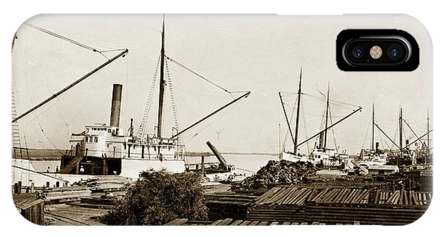 Lumber Steamers Unloading At Redwood Mfg. Co.s Wharf Pittsburg C IPhone X / XS Case featuring the photograph Lumber Steamers Unloading At Redwood Mfg. Co.s Wharf Pittsburg Circa 1920 by California Views Archives Mr Pat Hathaway Archives