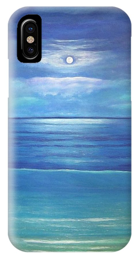 Moon IPhone X Case featuring the painting Luna Del Mar by Maureen Schmidt
