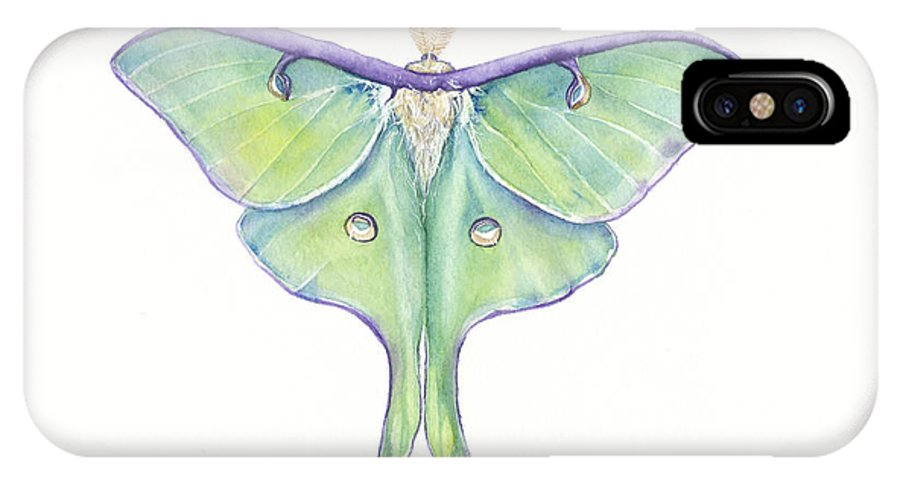 Luna Moth IPhone X Case featuring the painting Luna Moth Actias Luna by Shirley Greenville