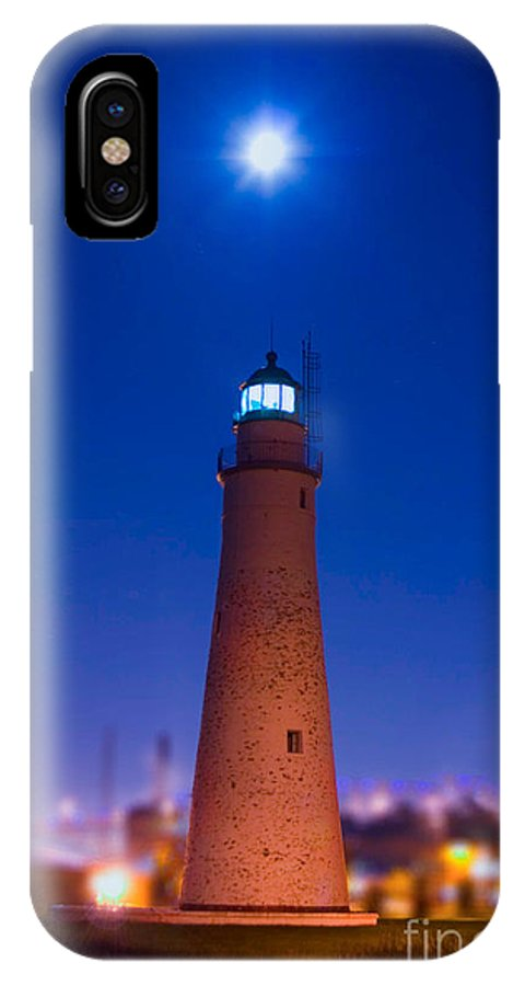 Ft Gratiot Lighthouse IPhone X Case featuring the photograph Lunar Beacon by Michael Petrick