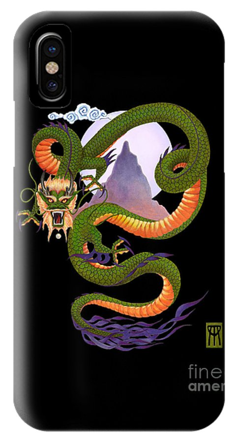 Dragon IPhone X Case featuring the digital art Lunar Chinese Dragon On Black by Melissa A Benson