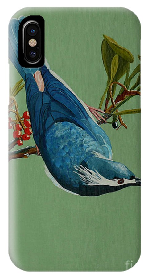 Bird IPhone X Case featuring the painting Lunch Time For Blue Bird by Anthony Dunphy