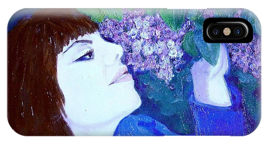 Lilacs IPhone Case featuring the painting Lush Lilacs by Laurie Morgan