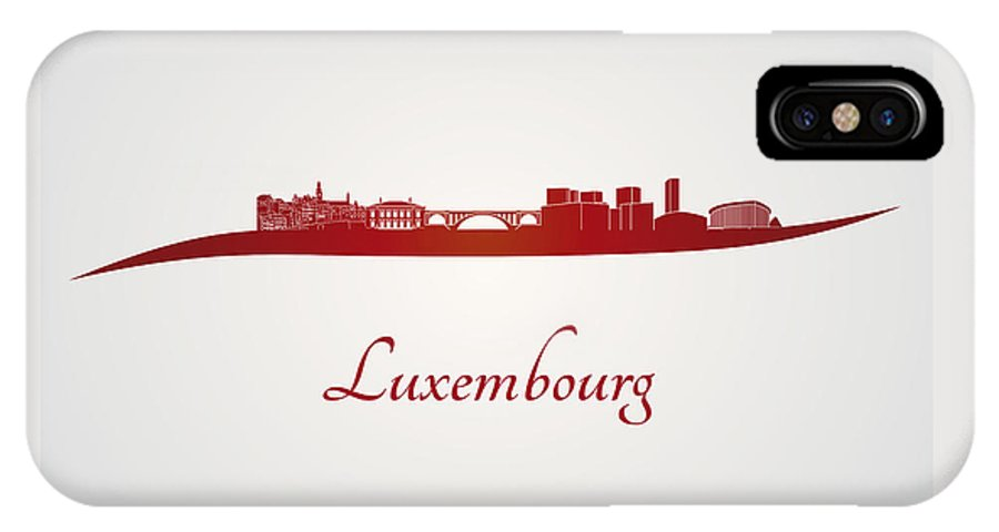 Luxembourg Skyline IPhone X Case featuring the digital art Luxembourg Skyline In Red by Pablo Romero