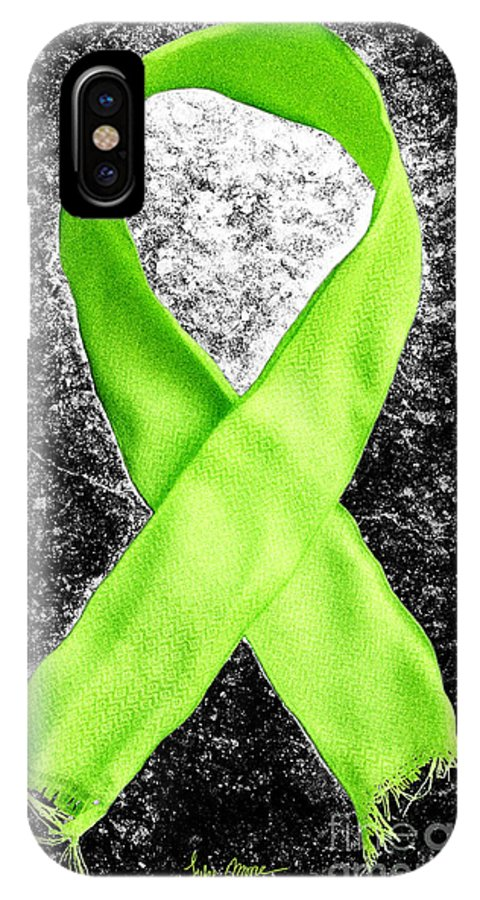 Lyme IPhone X Case featuring the photograph Lyme Disease Awareness Ribbon by Luke Moore
