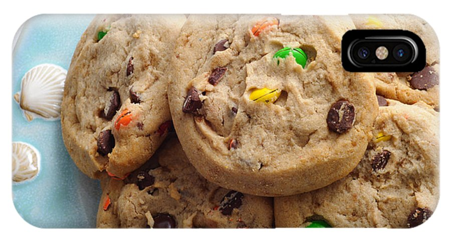 Food IPhone X Case featuring the photograph M And M - Chocolate Chip - Cookies - Bakery Shop by Andee Design