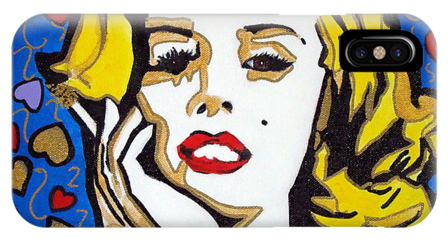 Pop-art IPhone X Case featuring the painting M M by Silvana Abel