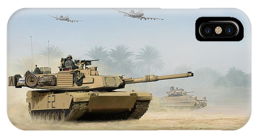 Tank IPhone X Case featuring the painting M1a2 Abrams by Mark Karvon