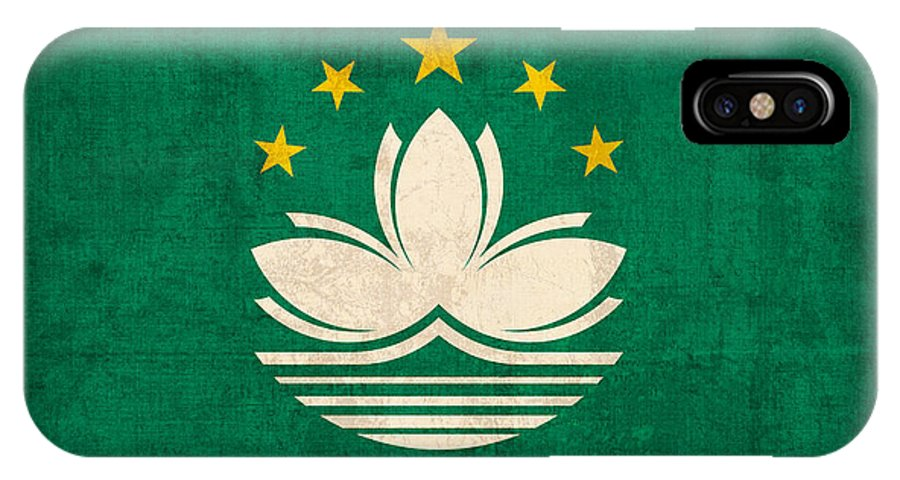 Macau IPhone X Case featuring the mixed media Macau Flag Vintage Distressed Finish by Design Turnpike