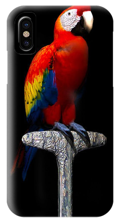Portrait IPhone X Case featuring the digital art Macaw... by Tim Fillingim