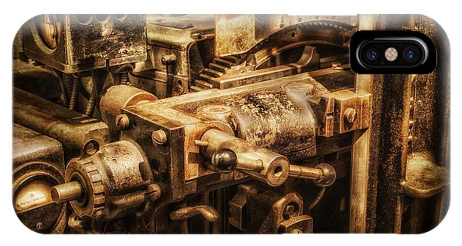 Machine Part IPhone X Case featuring the photograph Machine Part by Dobromir Dobrinov