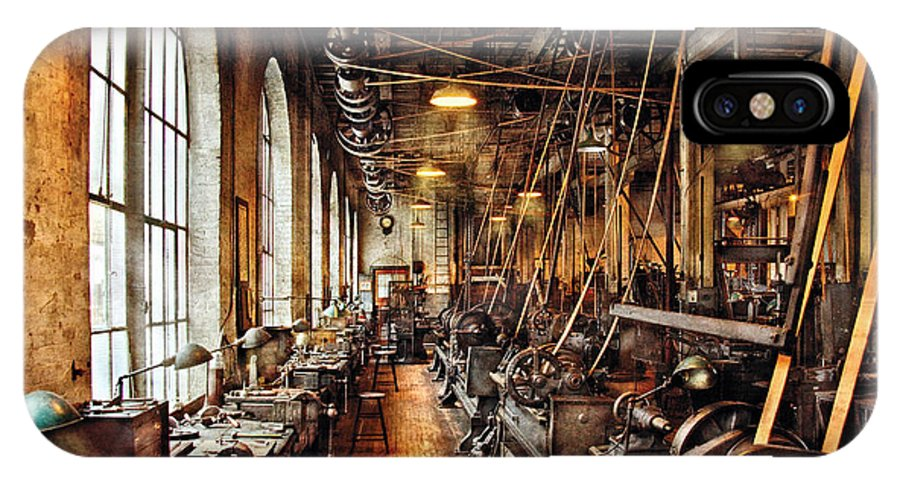 Machinist IPhone X Case featuring the photograph Machinist - Machine Shop Circa 1900's by Mike Savad
