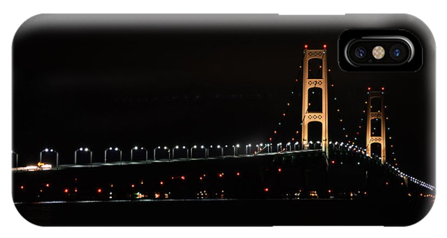 Bridge IPhone X Case featuring the photograph Mackinac Bridge Night Shot II by Michael Tucker