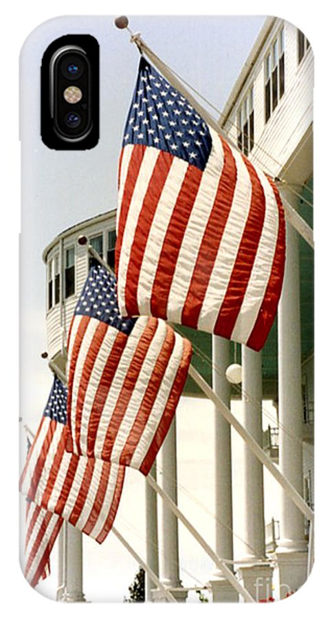 American Flag IPhone X Case featuring the photograph Mackinac Island Michigan - The Grand Hotel - American Flags by Kathy Fornal
