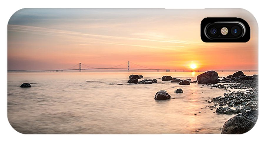 Bridge IPhone X Case featuring the photograph Mackinac Sunrise by Larry Carr