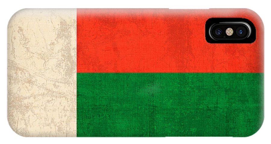 Madagascar IPhone X / XS Case featuring the mixed media Madagascar Flag Vintage Distressed Finish by Design Turnpike
