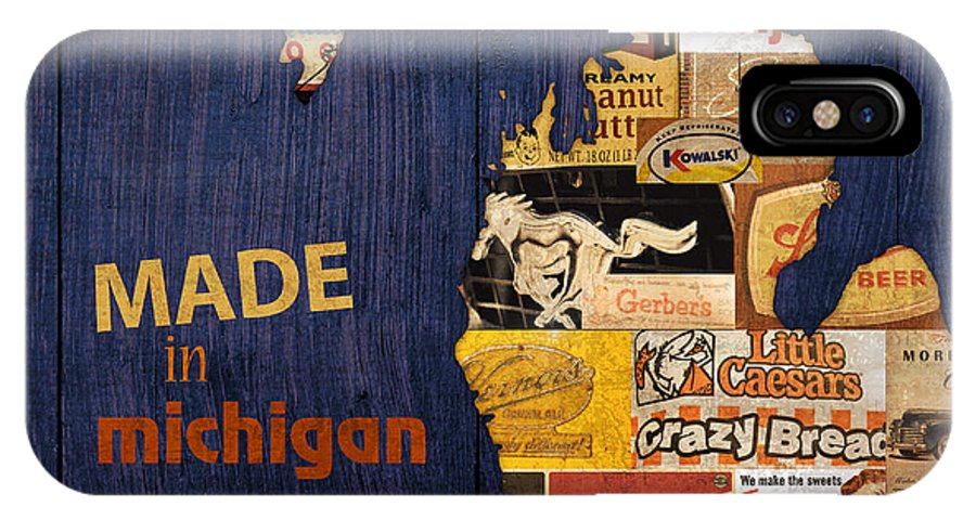 Made In Michigan Products Vintage Map On Wood Kelloggs Better Made Faygo Ford Chevy Gm Little Caesars Strohs Pioneer Sugar Lazy Boy Detroit Lansing Grand Rapids Flint Mustang Meijer Olgas Vernors Gerber Kowalski Sausage Corn Flakes IPhone X Case featuring the mixed media Made In Michigan Products Vintage Map On Wood by Design Turnpike