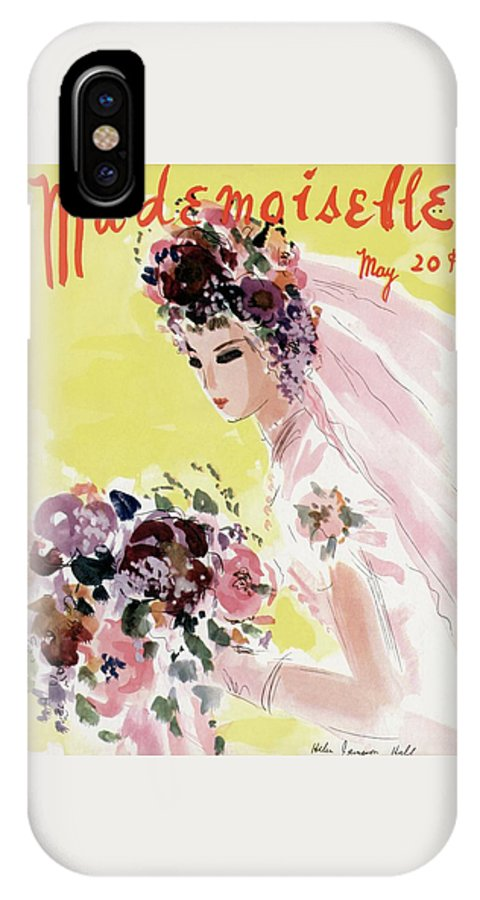 Illustration IPhone X Case featuring the photograph Mademoiselle Cover Featuring A Bride by Helen Jameson Hall