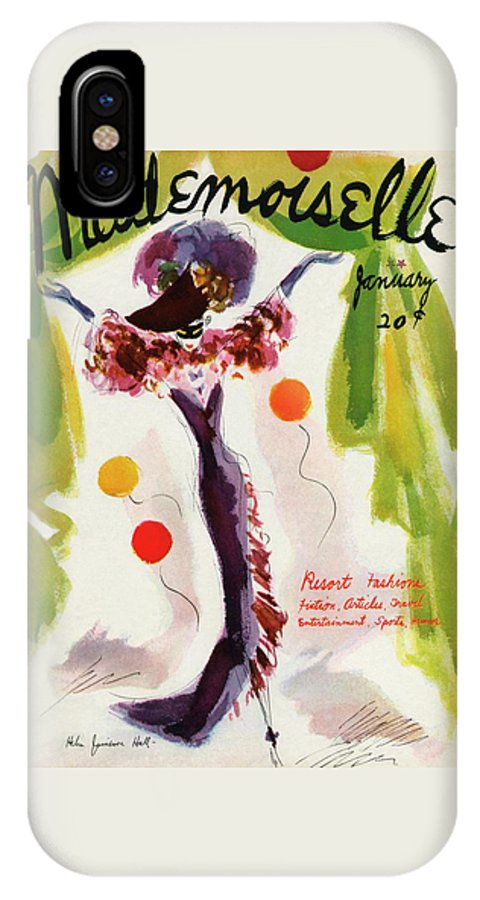 Illustration IPhone X Case featuring the photograph Mademoiselle Cover Featuring A Model Wearing by Helen Jameson Hall