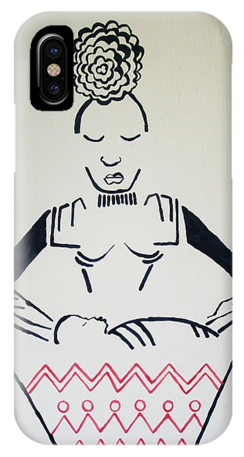 Jesus IPhone X Case featuring the painting Madonna And Child by Gloria Ssali