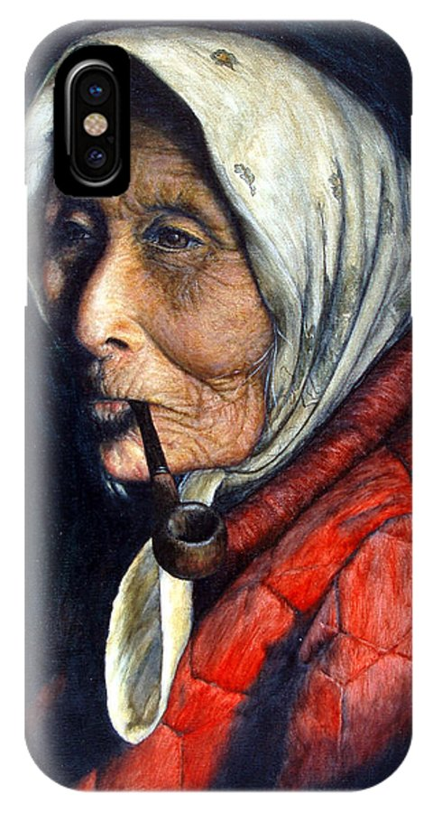 Native IPhone X Case featuring the painting Maggie by Joey Nash