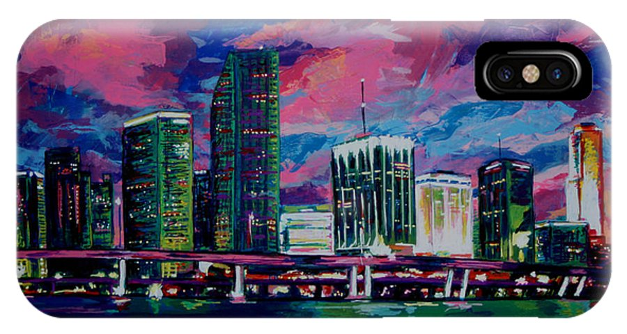 Miami IPhone X Case featuring the painting Magic City by Maria Arango