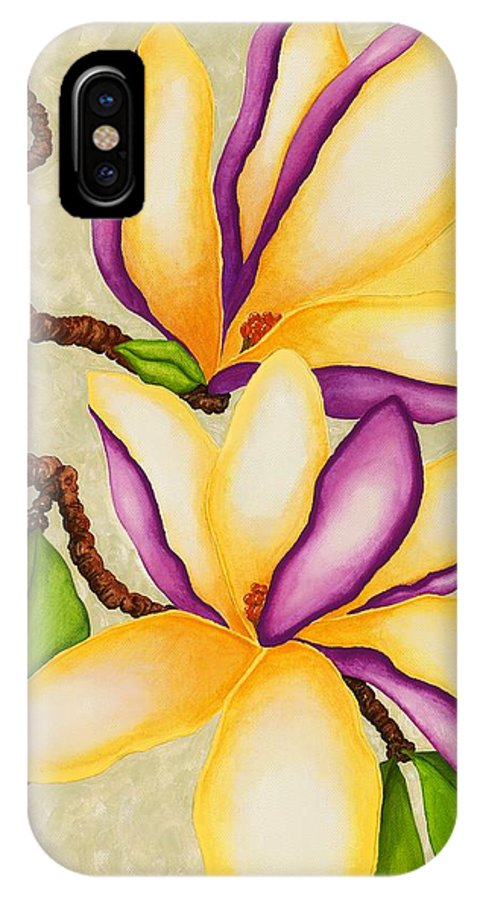 Two Magnolias IPhone X Case featuring the painting Magnolias by Carol Sabo
