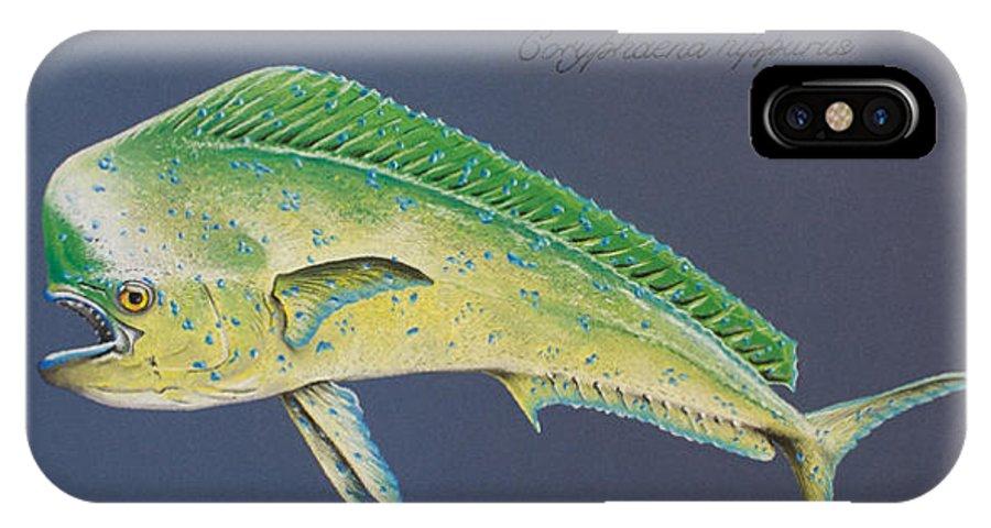 Mahi Mahi IPhone X Case featuring the pastel Mahi-mahi by Katharina Filus